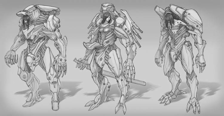 edwin ho mech suit line drawing