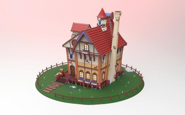 3D Model of a House by Intro to 3D Modeling Graduate Nadiia Plaunova